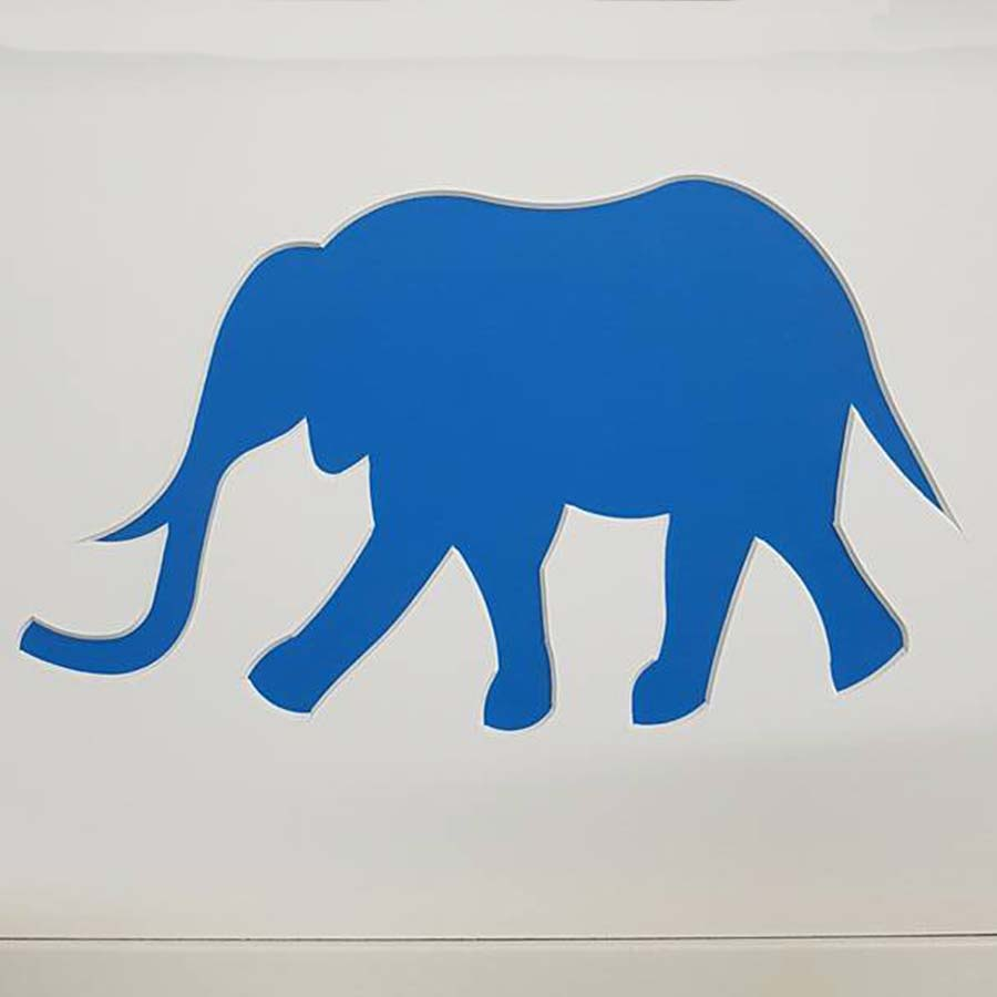 framing good elephant shaped blue framed